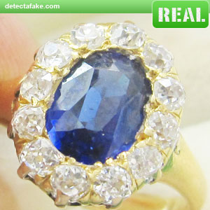 real sapphire faux ring diamond gold vintage products